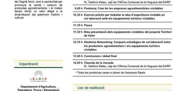 Jornada PATT: Com presentar productes agroalimentaris en equipaments visitables